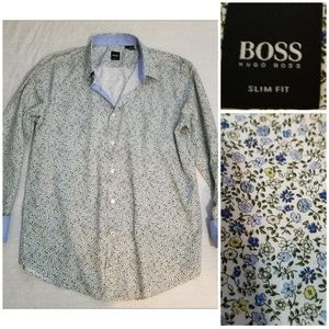 Hugo Boss button up shirt flip cuffs slim fit XL